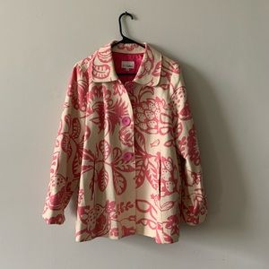 3 sisters pink floral coat size L